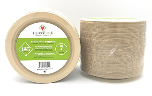 """[125 COUNT] 7"""" in Round Disposable Plates - Natural Sugarcane Bagasse Bamboo Fibers Sturdy Seven Inch Compostable Eco Friendly Environmental Paper Plate Alternative 100% by-product Tree Plastic Free"""