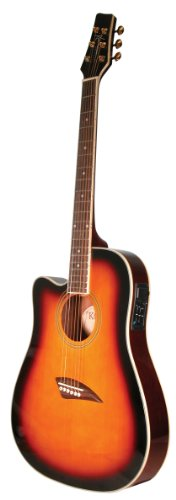 Kona Left-Handed Acoustic Electric Dreadnought Cutaway Guitar in Tobacco Sunburst Finish