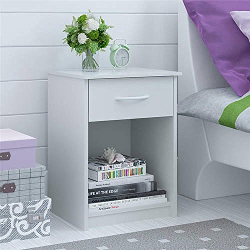 Mainstays Nightstand MDF End Tables Pair Bedroom Table Furniture Multiple Colors (1-piece, White)