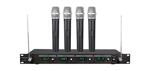 GTD Audio VHF Wireless Microphone System with 4 Hand held mics