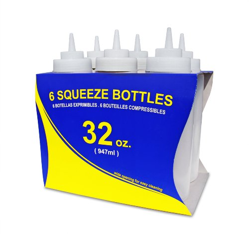 New Star Foodservice Squeeze Bottles, Plastic, Wide Mouth, 32 oz, Clear, Pack of 6