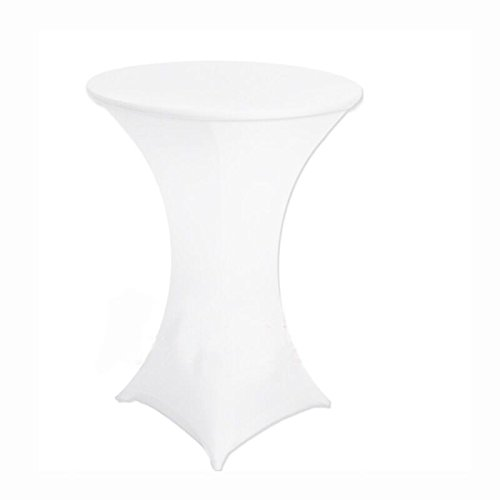 36 Inch Linen Spandex Fitted Stretchable Round Tablecloth for Cocktail Table, 36 by 42 Inch, White