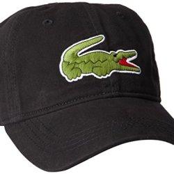 Lacoste Men's Classic Large Croc Gabardine Cap, Black, One Size