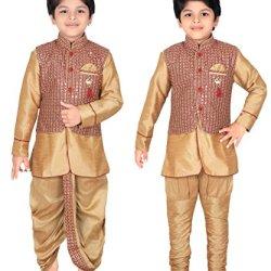 ahhaaaa Kids Indian Ethnic Waistcoat, Kurta, Breaches and Dhoti Pant Set for Baby Boys
