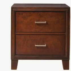 Furniture of America Parlin 2-Drawer Nightstand/Bedside Table, Brown Cherry
