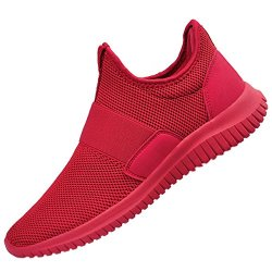 QANSI Men's Sneakers Mesh Breathable Comfortable Walking Gym Shoes Red 11.5 D(M) US