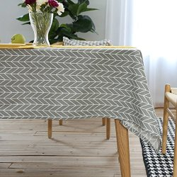 ColorBird Geometric Series Tablecloth Arrow Pattern Cotton Linen Dust-proof Table Cover for Kitchen Dinning Tabletop Linen Decor (Rectangle/Oblong, 55 x 102 Inch, Grey)