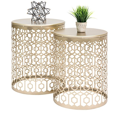 Best Choice Products Set of 2 Multi-Size Bedroom Nightstands, Living Room Decorative Round Side End Coffee Tables - Gold