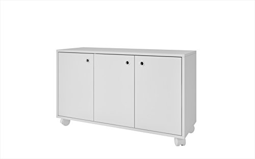 """Manhattan Comfort Dali Cabinet Collection 3 Shelf Modern Storage Cabinet with 3 Doors and 4 Caster Wheels, 35.4"""" L x 13"""" D x 21"""" H, White"""