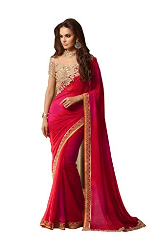 Aarah Women's Wedding And Party Wear New Collection Saree Free Size Red