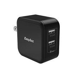 EasyAcc 24W 4.8A Wall Charger 2-Port USB Travel Charger with Foldable Plug, Smart Charge Technology for iPhone 6s, 6 Plus, iPad Pro / Air / Mini, Galaxy S7 S6 Edge and More