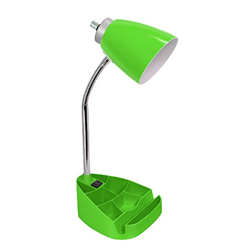 Limelights Gooseneck Organizer Desk Lamp with Ipad Tablet Stand Book Holder and Charging Outlet, Green