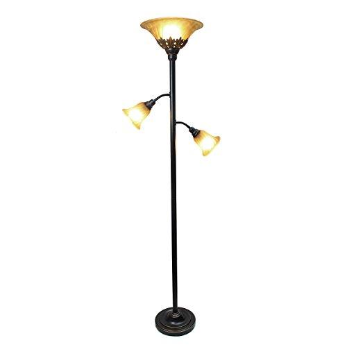 Elegant Designs 3 Light Floor Lamp with Scalloped Glass Shades,Restoration Bronze