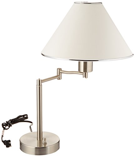 Boston Harbor TL-TB-8008-3L Desk Lamp Swing Arm with Shade, Satin Nickel