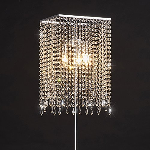 Surpars House Crystal Floor Lamp for Bedroom,Living Room,Girls Room,Silver