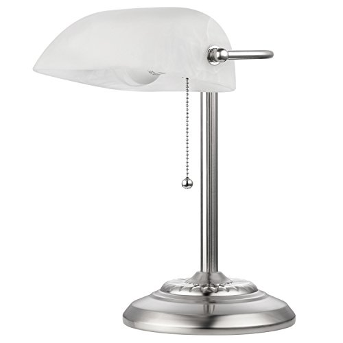 """Novogratz x Globe Electric LED for Life Banker Lamp, White Frosted Glass Shade, LED Bulb Included, 13.4"""" x 9"""" x 10.5"""" , Brushed Steel Finish"""