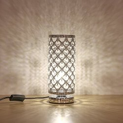 HAITRAL Crystal Table Lamp Modern Night Light Lamp with Metal Frame 110 Pcs Crystals Elegant Bedside Desk Lamp for Bedroom, Living Room, Dining Room Sliver