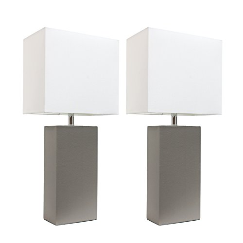 Elegant Designs 2 Pack Leather Lamps 2 Pack Modern Leather Table Lamps with White Fabric Shades, Gray