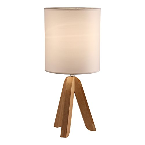 Light Accents Tripod Table Lamp with Natural Wooden Tripod Base with Linen Shade