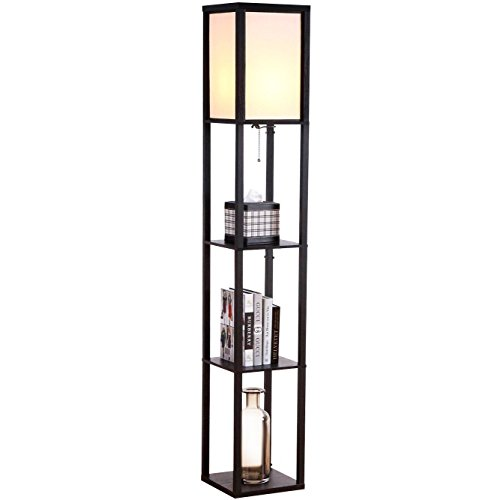 Brightech - Maxwell LED Shelf Floor Lamp - Asian Wooden Frame with Open Box Display Shelves - Alexa Compatible, Modern Standing Light for Living Rooms & Bedrooms - Black