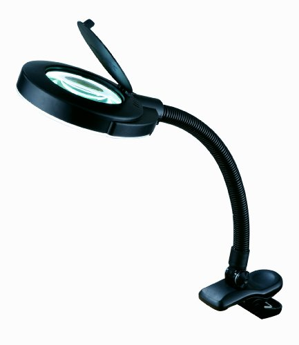 """Normande Lighting 12W Daylight Clip-On Lamp w/ Magnifier. 16.5"""" in Height with Black Painted Finish"""