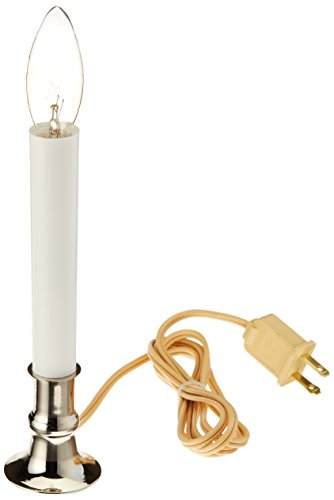 Darice Silver Plated Base Candle Lamp with automatic light sensor, 9 inch