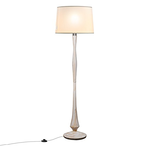Tomons Simple Scandinavian Style White Washed Wood Floor Lamp, White Linen Shape, E26/E27 Bulb Base, 153cm/60-Inch Height, 1.4m/4.6ft Cable With Foot Switch