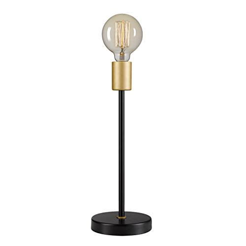 """Globe Electric Remington 15"""" Table Lamp, Black Finish, Exposed Gold Socket, in-Line on/Off Rocker Switch, Exposed Bulb"""