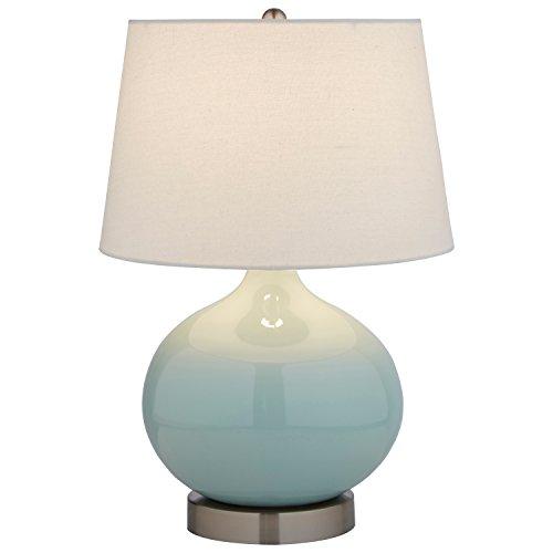 "Stone & Beam Cyan Ceramic Lamp, 20"" H, with Bulb, White Shade"