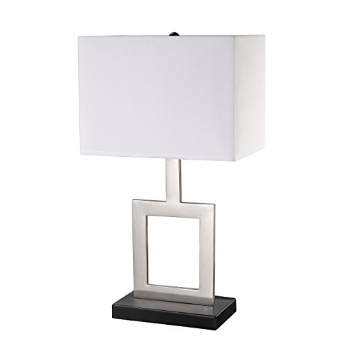 """Globe Electric Haven Table Lamp Finish, Black Base, White Shade, in-Line on/Off Rocker Switch, 21"""", Brushed Nickel"""