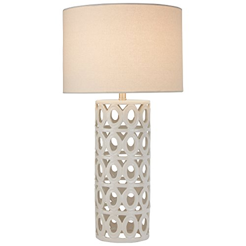 "Stone & Beam Ceramic Geometric Table Lamp, 25"" H, with Bulb, White Shade"
