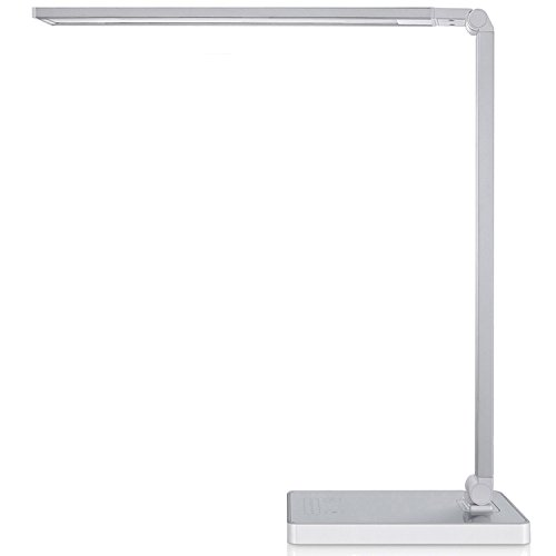 Phive Dimmable LED Desk Lamp with Fast Charging USB Port, Touch Control, 8-Level Dimmer/4 Lighting Modes, Aluminum Body, Eye-Care LED, Table Lamp for Bedroom/Reading/Study (Silver)