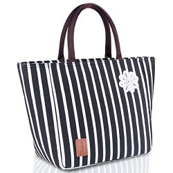 Lunch Bag for Women Insulated Tote Large Capacity with Durable Waterproof Material Leakproof Liner(Black&White Strip)