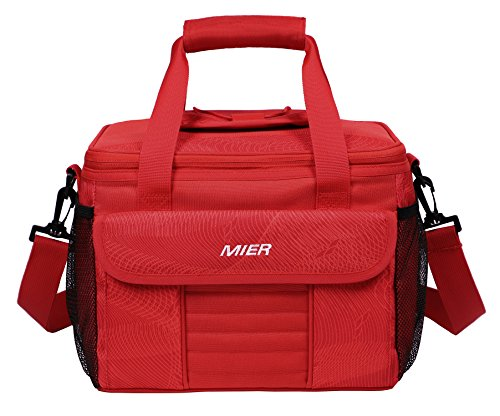 MIER Large Soft Cooler Bag Insulated Lunch Box Bag Picnic Cooler Tote with Dispensing Lid, Multiple Pockets (Red)