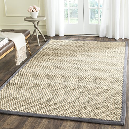Safavieh Natural Fiber Collection NF114Q Basketweave Natural and Dark Grey Summer Seagrass Area Rug (3' x 5')