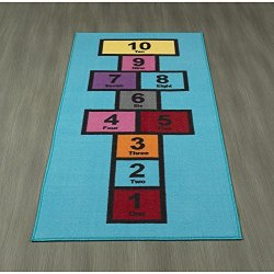 "Ottomanson Children's Garden Collection Blue Educational Titled Hopscotch Design 2'7"" X6'0 Children Nursery Kid's Play Runner Rug"