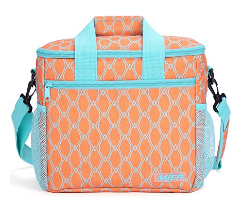 MIER 24-can Large Capacity Soft Cooler Tote Insulated Lunch Bag Outdoor Picnic Bag, Orange