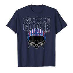 Mens Top Gun Talk To Me Goose Maverick Helmet T-shirt 3XL Navy