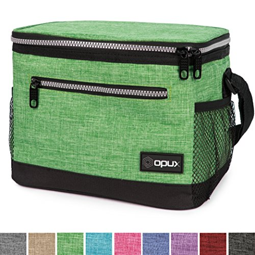 OPUX Premium Insulated Lunch Bag with Shoulder Strap | Lunch Box for Adults, Kids | Soft Leak Proof Liner | Medium Lunch Cooler for Office, School | Fits 6 Cans (Heather Green)