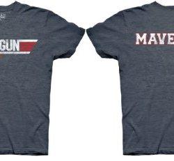 Top Gun Logo and Maverick Name Adult Heather Navy T-Shirt (Adult Small)