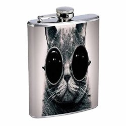 8oz Hip Flask Stainless Steel with Steampunk Vintage Kitty Cat Design Highest Quality