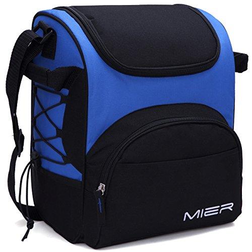 MIER Large Insulated Lunch Bag Reusable Lunch Box Picnic Cooler Bag for Men, Women, Kids, Adjustable Shoulder Strap (Blue)