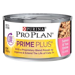 Purina Pro Plan Wet Cat Food, Prime Plus, Adult 7+ Salmon & Tuna Entree, 3-Ounce Can, Pack of 24