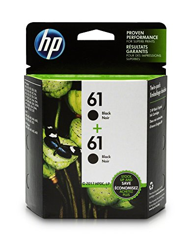HP 61 Black Ink Cartridge, 2 Ink Cartridges for HP Deskjet