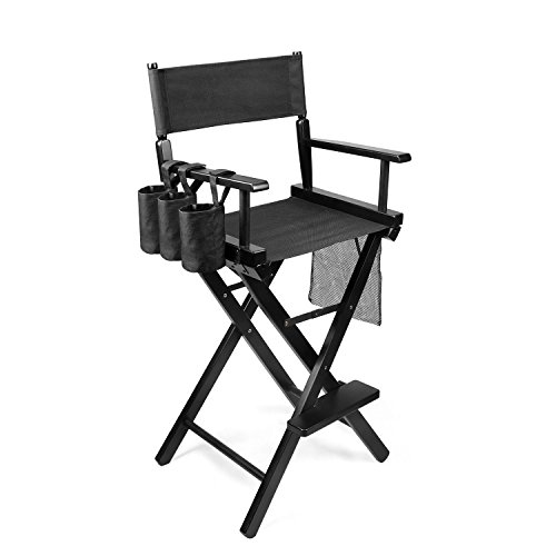 Flexzion Makeup Chair Artist Directors Actor Wood Stool Professional Light Weight Bar Height Seat Foldable with Storage Side Bags and Food Rest Home Furniture in Black
