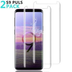 [2 Pack] Galaxy S9 Plus Screen Protector, Fanouc [Anti-Scratch] [High Definition] [Bubble Free] [Anti-Fingerprint] Tempered Glass Screen Protector Compatible Samsung Galaxy S9 Plus