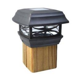Moonrays Solar LED Cap Lamp Post For 4x4 Wooden Posts (Black)