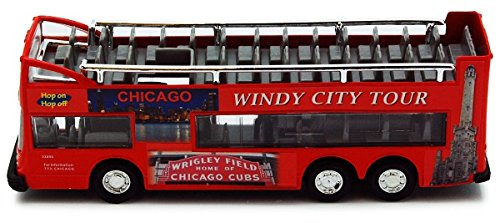 Chicago Sightseeing Double Decker Wrigley Navy Pier Bus Open Top Red 6 Inch 1:64 Scale Diecast Model Replica