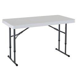 Lifetime Commercial Height Adjustable Folding Utility Table, 4 Feet, White Granite