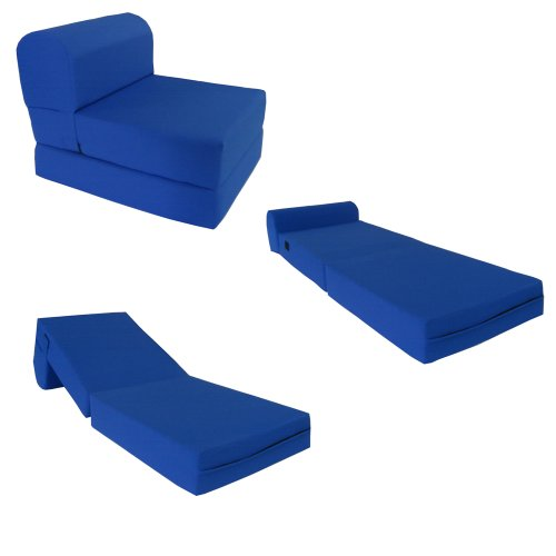 """Royal Blue Sleeper Chair Folding Foam Bed Sized 6"""" Thick X 32"""" Wide X 70"""" Long, Studio Guest Foldable Chair Beds, Foam Sofa, Couch, High Density Foam 1.8 Pounds."""